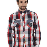 Dissident Red, White & Black Check Shirt - Mens Offers - Sale & Offers