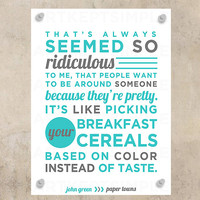 NSTANT DOWNLOAD John Green paper Towns Quote Poster