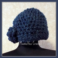 Soft Warm Dark Blue Cloche Woman Hat Beanie Solid Medium Blue Handmade Crochet