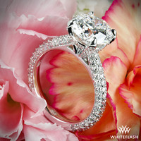"Platinum ""Elena Rounded Pave"" Diamond Engagement Ring"