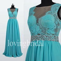 Long Lace Royal Blue Prom Dresses See Through Party Dresses Homecoming Dresses 2014 New Fashion