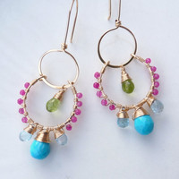 unique handmade jewelry - fun bright earrings - summer earrings - bright beach jewelry - 14k gold filled, turquoise, peridot, blue topaz