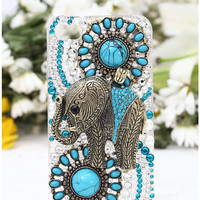 Samsung Galaxy II S2 Skyrocekt i727 Sprint Epic Touch 4g D710 T-mobile T989 i9100,Samsung Galaxy S4 Mini i9190 Case Bling Retro Elephant