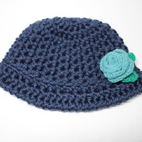 Blue Crochet Hat With Flower, Women's Cloche, 1920's Style Flapper Hat, Chunky Knit Beanie, Winter Accessory