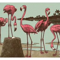 Flamingos Print by Pop Ink - CSA Images at Art.com