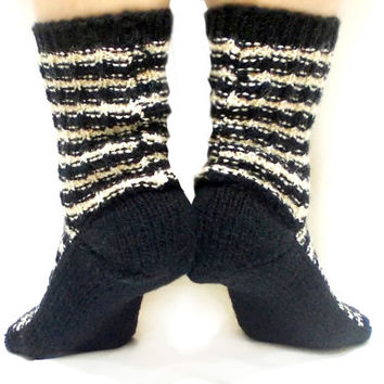ON Sale, Handmade Socks, Knitted Socks, Christmas Socks, Black, White, Cream, Knit boot socks, Gift Socks, Traditional, Long Slippers