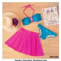 Pink & Teal Polka 3 Piece Swimsuit Set Top, Bikini Bottom & Skirt (XS/S/M) 333 - Smoky Mountain Boutique