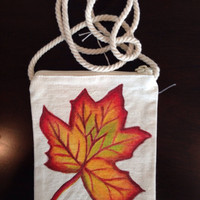 Hand Painted Maple Leaf Purse on a String