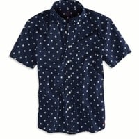 AEO Men's Stars Short Sleeve Button Down Shirt (Navy)