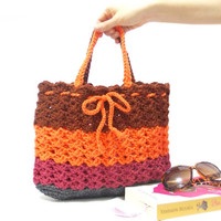 On Sale, Crochet bag, Shoulder bag, Orange Bag, Striped bag, Crochet Purse, Spring bag, 2014 Spring Summer, Net Bag, Women tote bag