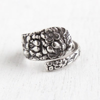 Vintage Sterling Silver Spoon Ring - Size 6 Hallmarked Stieff Rose & Forget Me Not Flower Repousse Jewelry