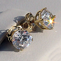 2.5ct, 7mm Russian Ice on Fire Diamond CZ Cast Basket Set Stud Earrings 14K Yellow Gold, 064.7-065