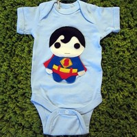 Handmade Felt Appliqued Super Hero Bodysuit - Available in Batman, Wonderwoman & Superman