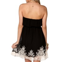 Black Strapless Embroidered Tunic