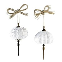 Mud Pie Ceramic Sea Urchin Christmas Tree Ornaments - Set of 2