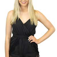 Black Sleeveless Jumpsuit w/Lace Scallop Hem & Open Back