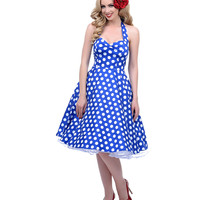1950s Style Blue & White Dotted Halter Meriam Swing Dress