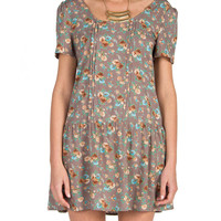 Pleated Floral Drop Waist Dress - Taupe