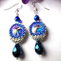 Swarovski Crystal Cobalt Blue Sterling Silver Hand Beaded Earrings | specialtivity - Jewelry on ArtFire