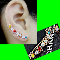 Flower And Rhinestone Long Clip Ear Pin Asymmetric Set (2 Pieces)