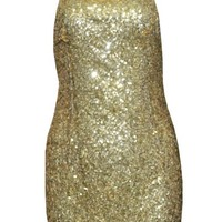 Gold Sequin Halter Chain Dress