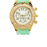 PAVE RHINESTONE RUBBER BOYFRIEND WATCH