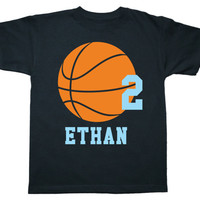 Basketball Birthday Shirt - Personalized - any age and name - you pick the colors!