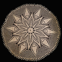 Doily-Crocheted-26 inch-Ecru Color- Poinsettia and Pinecones.