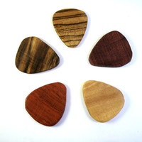 Exotic Wooden Guitar Picks - Pack of 5