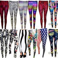 Womens New Ladies Comic Superman Batman Skull Boom Leggings Pants Size / 8-14