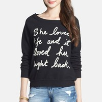 Project Social T 'She Loved Life' French Terry Sweatshirt (Juniors) | Nordstrom