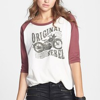 Cea + Jae 'Original Rebel' Distressed Baseball Tee (Juniors) | Nordstrom