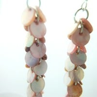 Pastel Pink Mother of Pearl Long Dangle Cluster Bunch Silver Earrings | LittleApples - Jewelry on ArtFire
