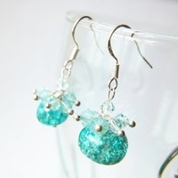 Tropical Fun Turquoise Crackled Stone Azore Pacific Crystals Earrings | LittleApples - Jewelry on ArtFire
