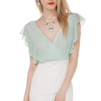 Ruffle Sleeved Mini Dress in Icy Mint