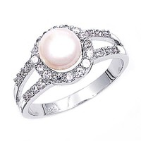 Rhodium Plated Sterling Silver Wedding & Engagement Ring Clear CZ, Pearl Pearl Ring MM ( Size 5 to 9)