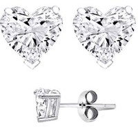 Authentic .925 Sterling Silver Heart Shaped Stud Earrings 9MM 4.00 Carat Tota Weigt