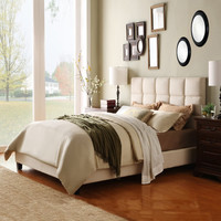 Queen Size Modern Platform Bed with Beige Fabric Headboard