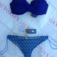 New Sexy Victoria's Secret Swimsuit Rio Twisted Shimmer Bikini 32C M Tyler Rose