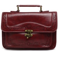 Wine Vintage Satchel Bag with Cut Out Detail
