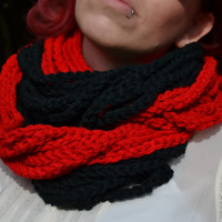 Red and black chunky crocheted loop infinity scarf, cowl, chain necklace