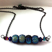 Black and peacock blue pavè beaded bar necklace, bar necklace, gifts for her