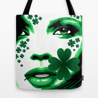 St Patrick Girl with Shamrock on Lips Tote Bag by Bluedarkat Lem