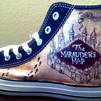 Hand Painted Harry Potter Shoes - Marauder's Map/ Crest