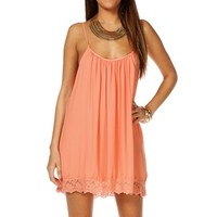 Peach Sleeveless Crochet Tunic