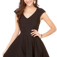 Knit V-Neck Flare Dress w/ Power Shoulders in Black