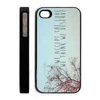 Apple iPhone 4 4G 4S WE ACCEPT THE LOVE WE THINK WE DESERVE CHERRY BLOSSOM PERKS OF A WALL FLOWER QUOTE Retro Vintage Hipster Design BLACK HARD PLASTIC SLIM FIT Case Cover Skin Mobile Phone Accessory CASE REPUBLIC PACKAGING