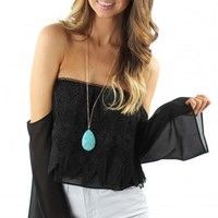 Crochet Off-the-Shoulder Black Top