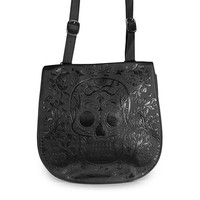 Sugar Skull Embossed Crossbody Bag by Loungefly (Black)