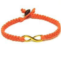 Coral Hemp Bracelet, Gold Tone Infinity Charm, Best Friends or Couples - Made to Order